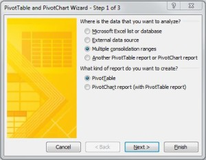 Unpivot Excel data - Pivot Wizard Step 1